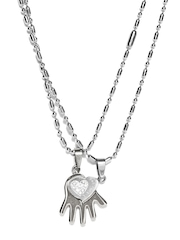 Svelte His & Her Steel Pendants with Chains