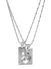 Svelte His & Her Steel Chain & Pendant Set