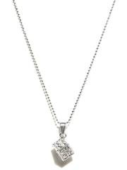 Svelte Steel Cube Pendant with Chain