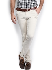 TWILLS Men Off-White Ultra Slim Fit Chino Trousers