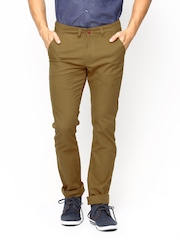 TWILLS Men Khaki Ultra Slim Fit Chino Trousers