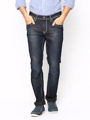 TWILLS Men Navy Straight Fit Stretch Jeans