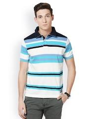 Taanz White & Blue Striped Polo T-shirt