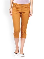 Taanz Women Rust Orange Slim Fit Capris