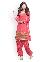 Tamanna Fashions Pink Embroidered Cotton Unstitched Dress Material