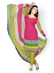 Tamanna Fashions Pink & Yellow Crepe Unstitched Dress Material