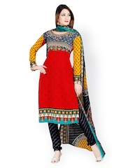 Tamanna Fashions Red & Black Crepe Unstitched Dress Material