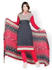Tamanna Fashions Black & Red Crepe Unstitched Dress Material