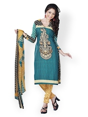Tamanna Fashions Blue & Mustard Yellow Crepe Unstitched Dress Material