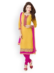 Tamanna Fashions Yellow & Pink Unstitched Dress Material