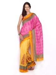 Tanjore Pink & Yellow Printed Bhagalpuri Art Silk Fashion Saree
