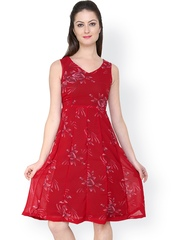 Tapyti Red Printed Fit & Flare Dress
