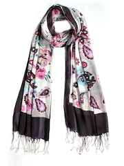 Tassels Women Off-White Printed Stole