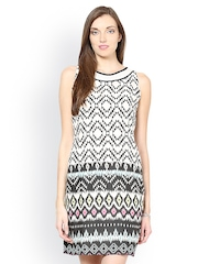 Taurus White & Black Printed Shift Dress