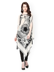 Taurus Women Black & White Printed Tunic