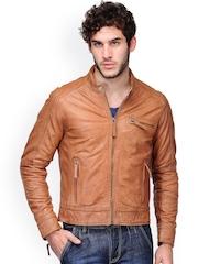 Teakwood Leathers Men Tan Brown Leather Jacket
