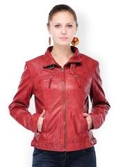 Teakwood Leathers Women Red Leather Jacket