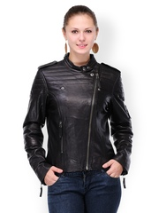 Teakwood Leathers Women Black Leather Jacket