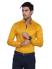 Teemper Men Mustard Yellow Casual Shirt