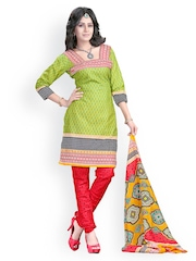 Tele Trends Lime Green Printed Unstitched Dress Material