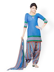 Tele Trends Blue Printed Unstitched Dress Material