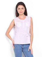 Ten on Ten Women Pink Polka Dot Print Top