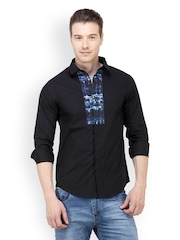 The Design Factory Men Black Casual Shirt