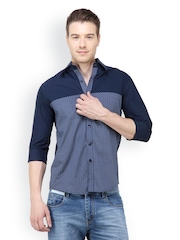 The Design Factory Men Blue Printed Casual Shirt