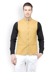 The Design Factory Men Yellow Nehru Jacket