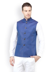 The Design Factory Men Blue Nehru Jacket