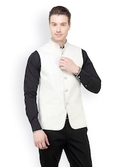 The Design Factory Men White Nehru jacket