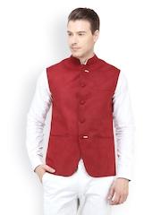 The Design Factory Men Maroon Nehru Jacket