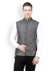 The Design Factory Men Grey Nehru Jacket