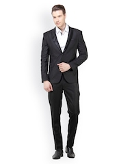 The Design Factory Men Black Slim Fit Single Breasted Suit