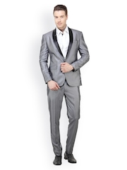 The Design Factory Men Grey Slim Fit Single Breasted Suit