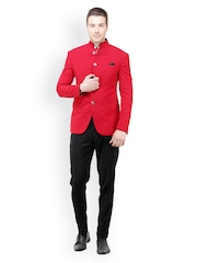 The Design Factory Men Red & Black Slim Fit Single Breasted Suit