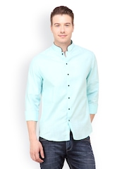 The Design Factory Men Turquoise Blue Casual Shirt
