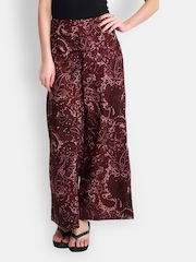 The Gud Look Women Burgundy Printed Palazzo Trousers