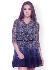 The Gud Look Grey & Black Animal Print Shirt Dress