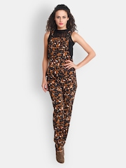 The Gud Look Women Brown & Black Printed Dungaree
