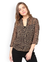 The Gud Look Women Beige Animal Print Sheer Top