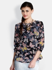 The Gud Look Women Black Butterfly Print Top