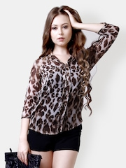 The Gud Look Women Brown & Beige Printed Top