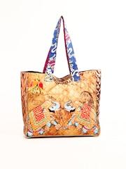 The House of Tara Women Copper Toned Printed Tote Bag