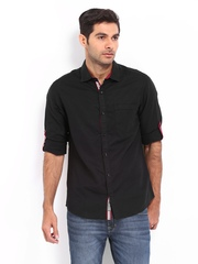 The Indian Garage Co Men Black Slim Fit Linen Blend Casual Shirt