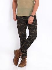 The Indian Garage Co Men Brown Camouflage Print Slim Fit Cargo Trousers