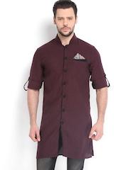 The Indian Garage Co Men Burgundy Linen Kurta