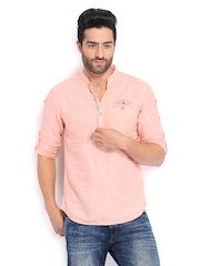 The Indian Garage Co Men Peach Coloured Linen Blend Short Kurta