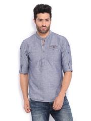 The Indian Garage Co Men Blue Linen Blend Short Kurta