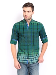 The Indian Garage Co Men Green & Blue Checked Slim Fit Casual Shirt